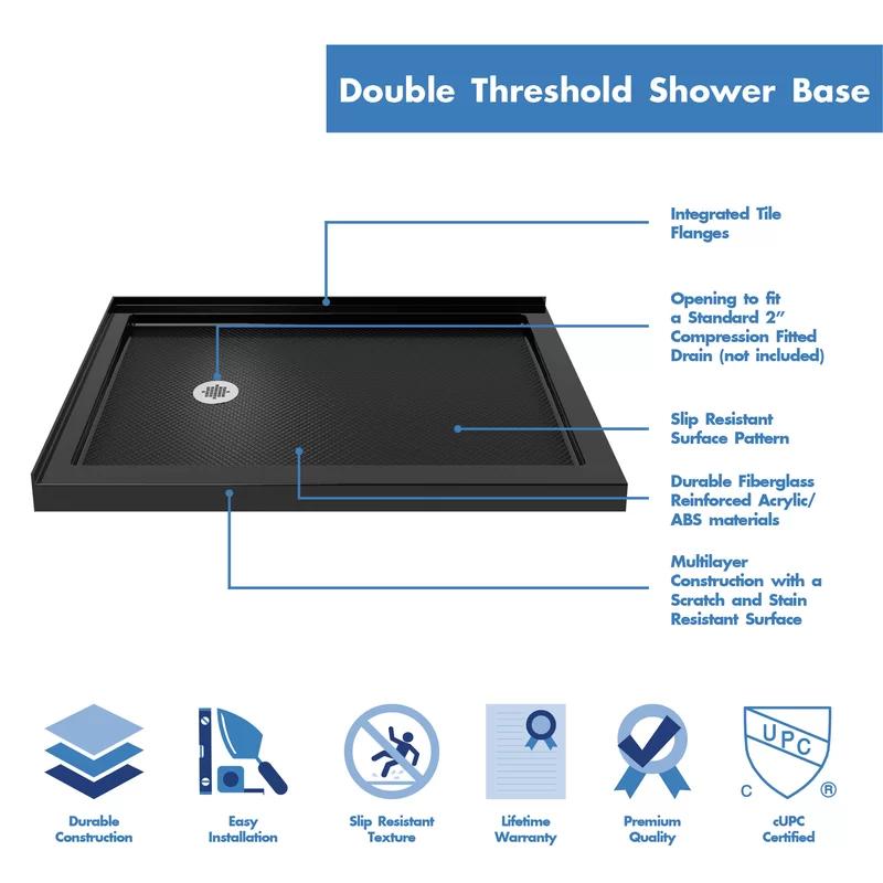 Slimline 48 X 34 Double Threshold Shower Base In 2020 Shower Base Bathroom Shower