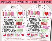 Valentines Mint Tags, Thank You Labels, Printable, INSTANT + EDITABLE, Valentine Appreciation Gift, PTA Pto Teacher Staff Nurse Employee