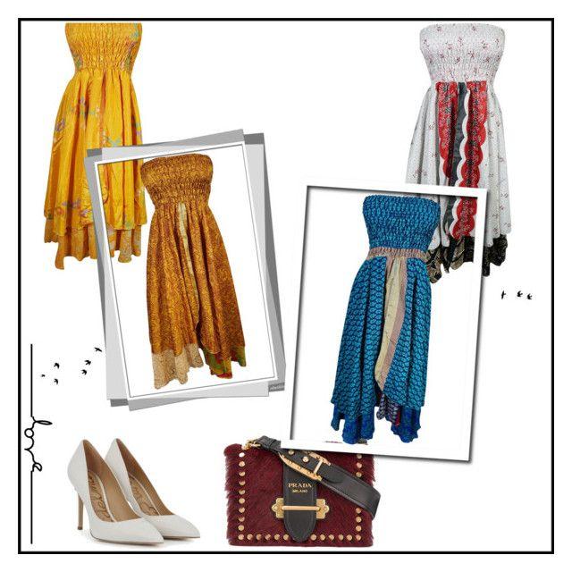 """Bohemian Silk Sari Strapless Dress"" by era-chandok ❤ liked on Polyvore featuring Prada and vintage"
