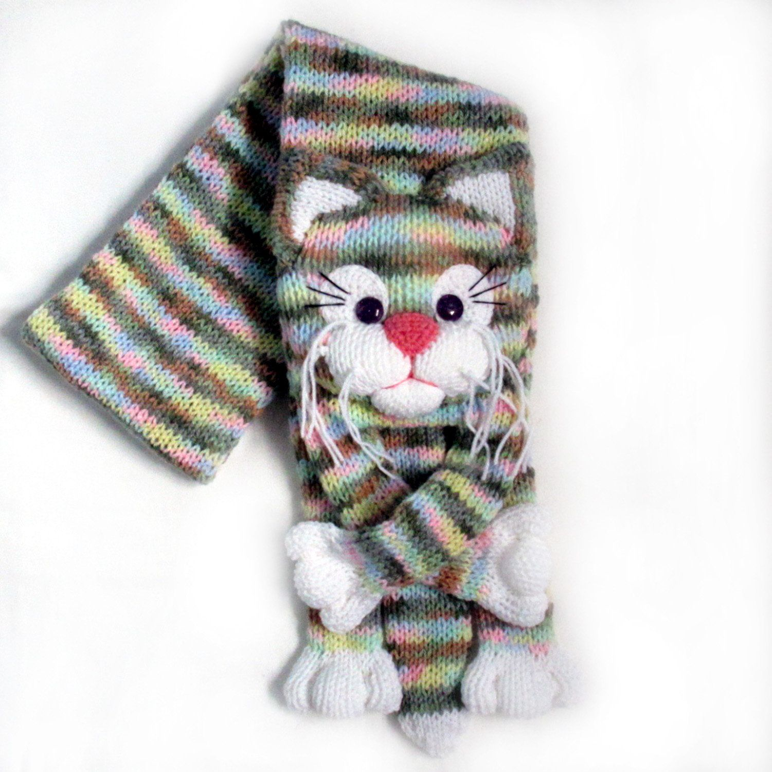 Knitted cat scarf,Knitted scarf,Animal scarf,Cat scarf
