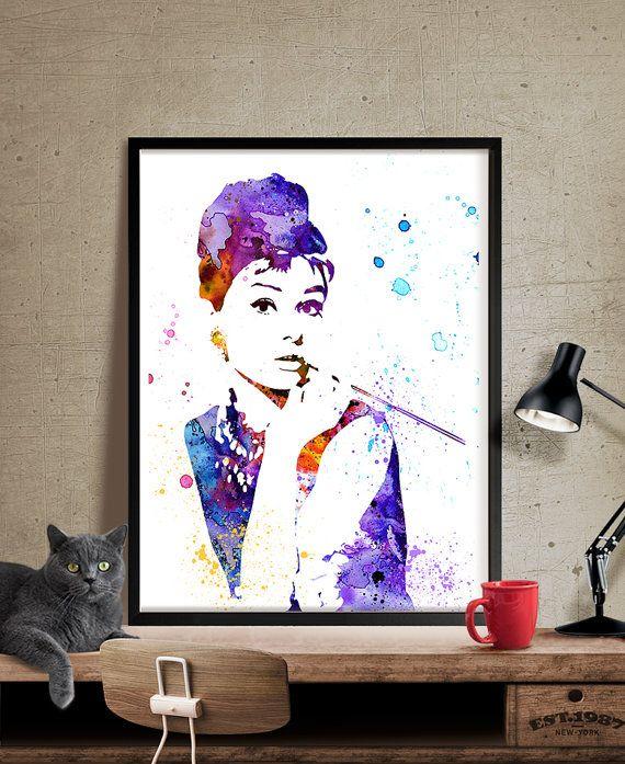 Audrey Hepburn Poster Watercolor Art Audrey by FineArtCenter
