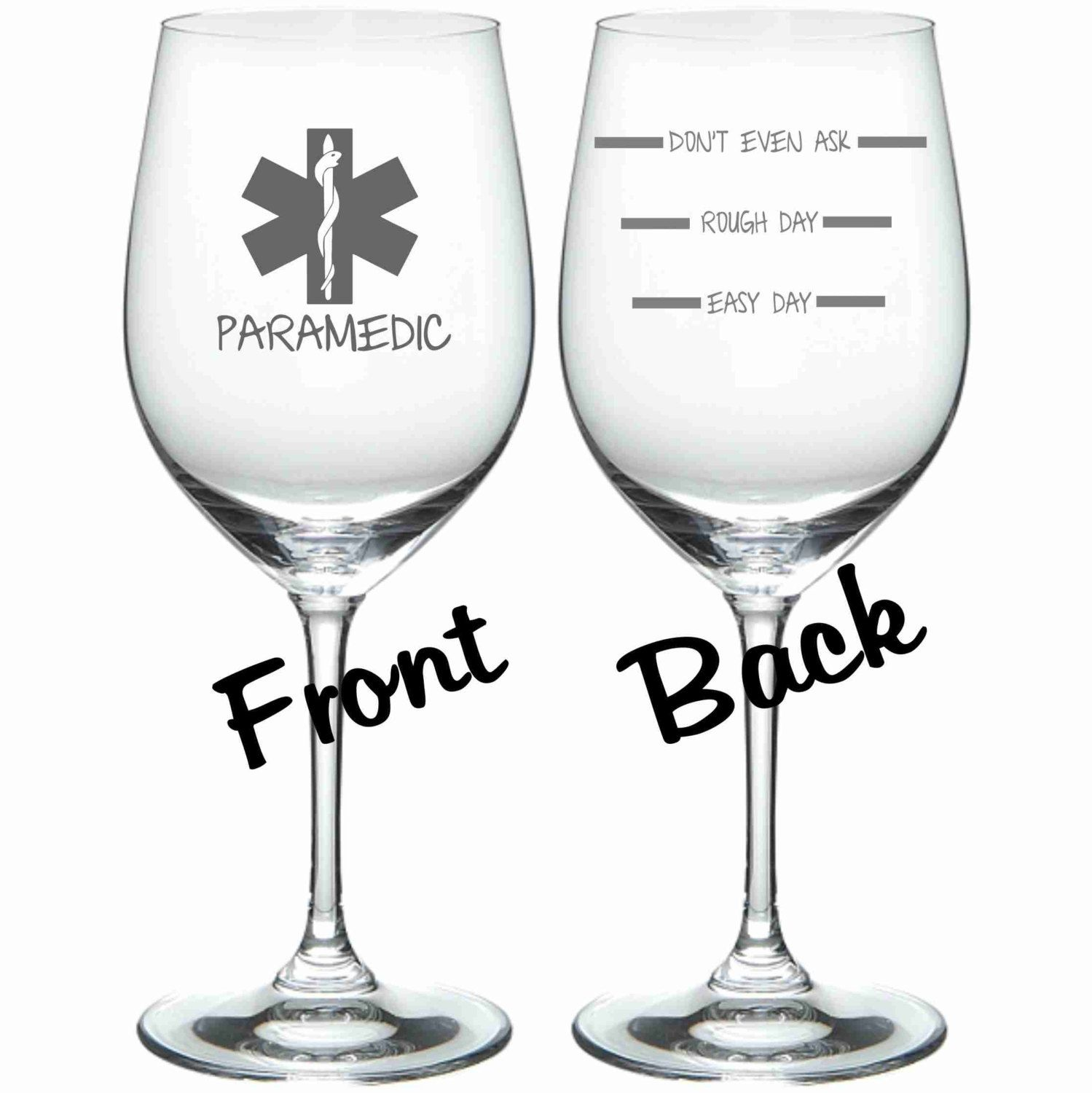 Etched Paramedic Glass Set of 2 FUNNY Choose by WulfCreekDesigns, $29.95