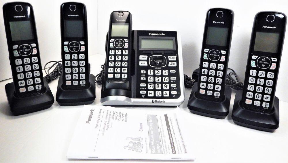 Panasonic Kx Tgf570 Bluetooth Cordless Phone Answering Machine W 5 Handsets Cordless Phone Answering Machines Handset