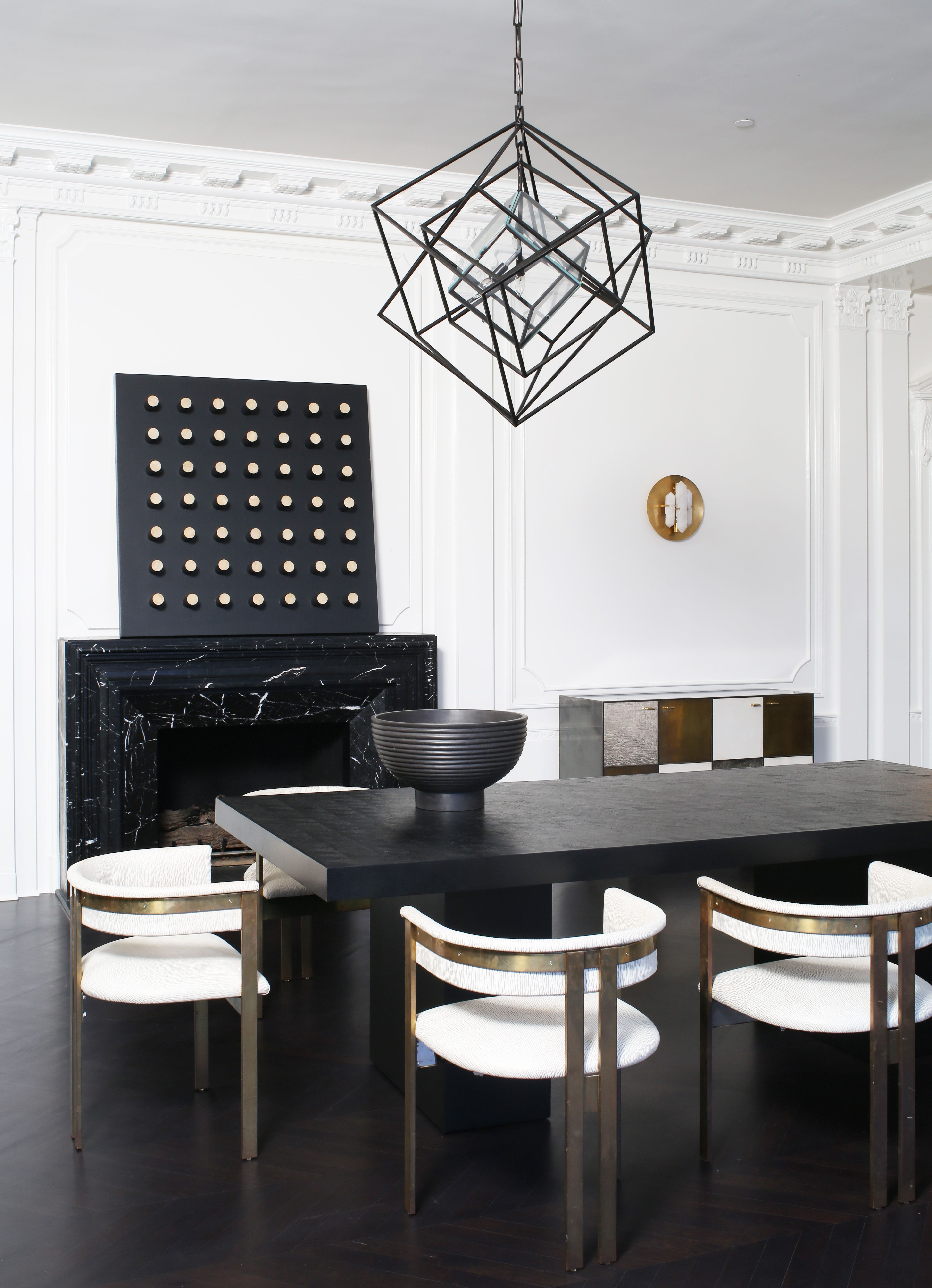 Kelly Wearstler Cubist Large Chandelier Geometric Lighting Available In Aged Iron And Gild In 2020 Dining Area Decor Dining Room Inspiration Dining Room Decor