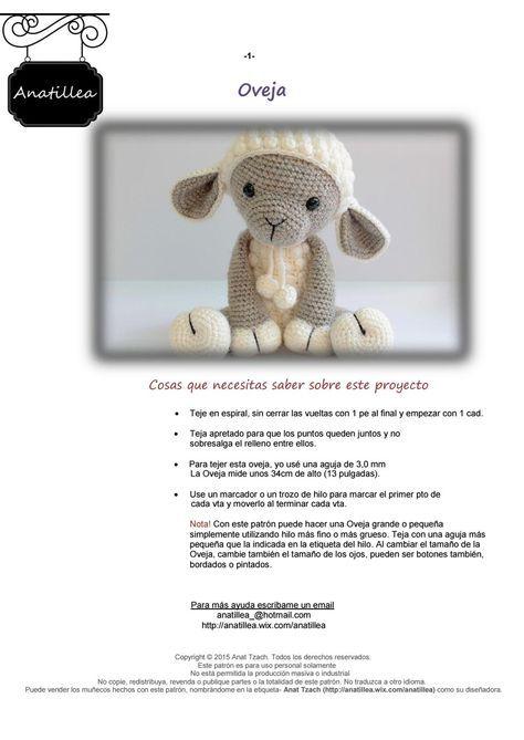 Amigurumi oveja   Pinterest   Oveja, Puntos crochet y Patrones