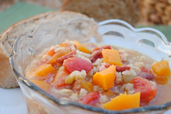 Autumn Ham Soup With Pumpkin & Barley