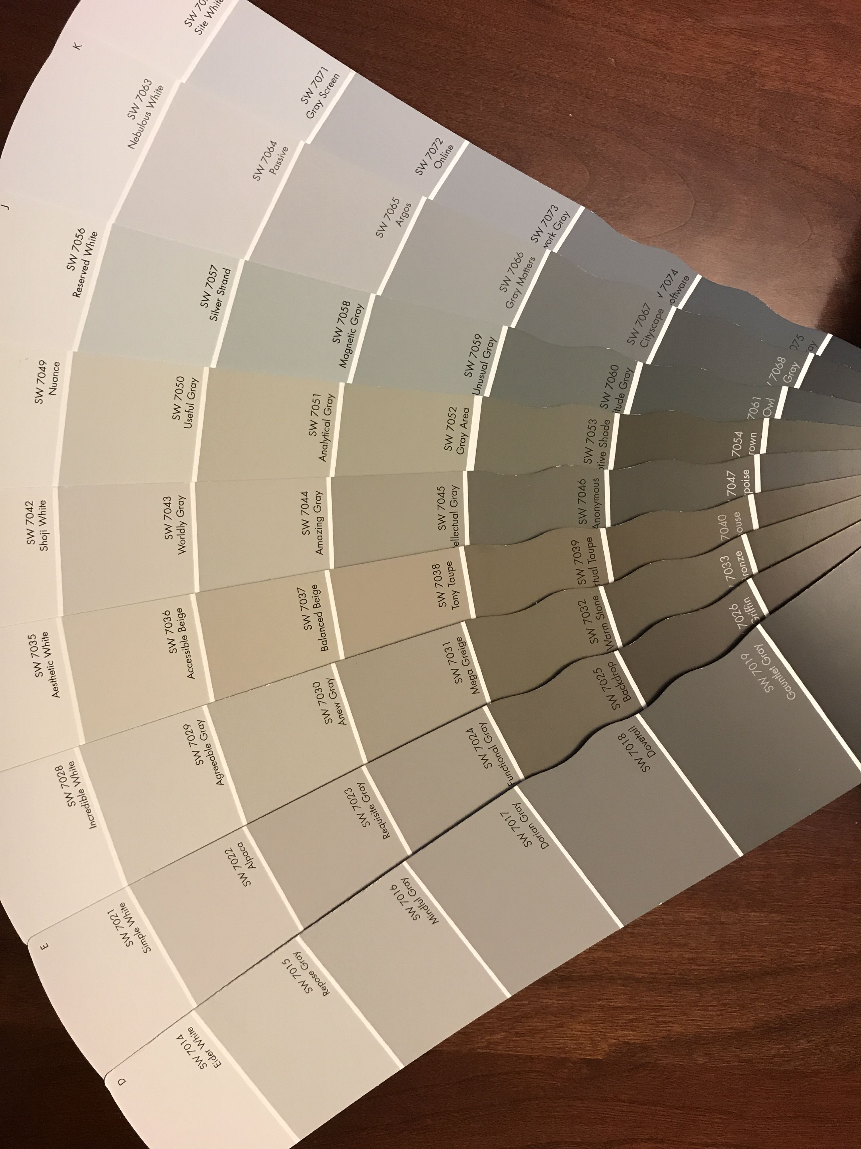 Sherwin Williams Gray Comparison Paint Chips Fan Deck Agreeable