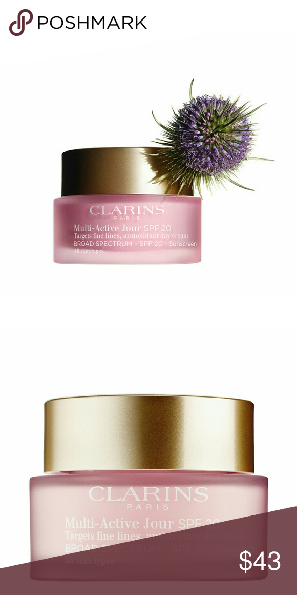 Clarins Multi Active Face Cream NEW New in box.  Teasel extract helps prevent fine lines and wrinkles caused by a stressful lifestyle Myrothamnus extract fights the effects of daytime stress, to help visibly minimize fine lines and boost radiance fine lines. Radiant, moisturizes skin. Myrothamnus extract minimizes the impact of daily stress: fine lines appear visibly smoothed. Moisturized, your skin grows with vitality. UV protection. Clarins exclusive new generation anti-pollution complex…