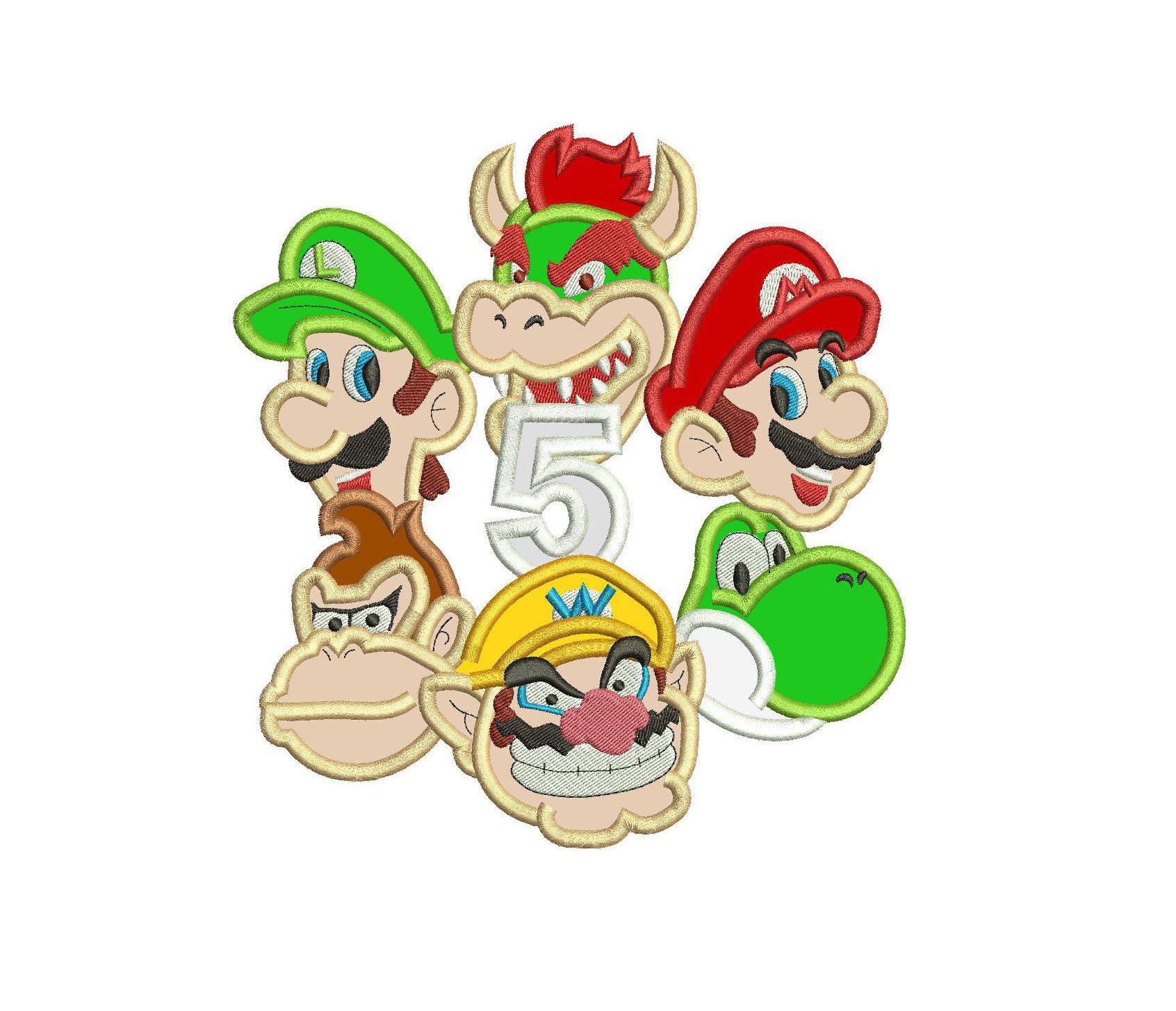 Super Mario Applique Design Mario Luigi Donkey Kong Yoshi Wario And Bowser Applique Applique Designs Mario And Luigi Donkey Kong