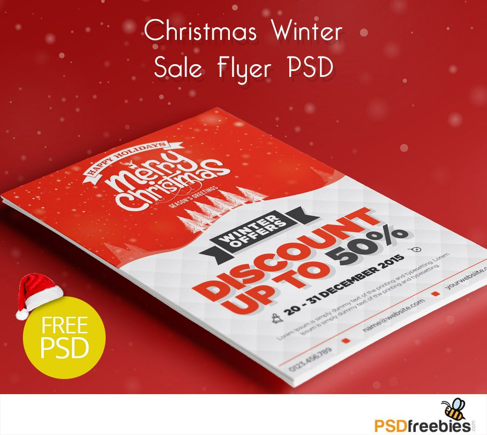 Christmas Winter Sale Flyer PSD Freebie | Sale flyer, Print ...