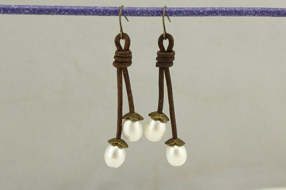 white pearl earringsflower earringsleather by PearlJewellery
