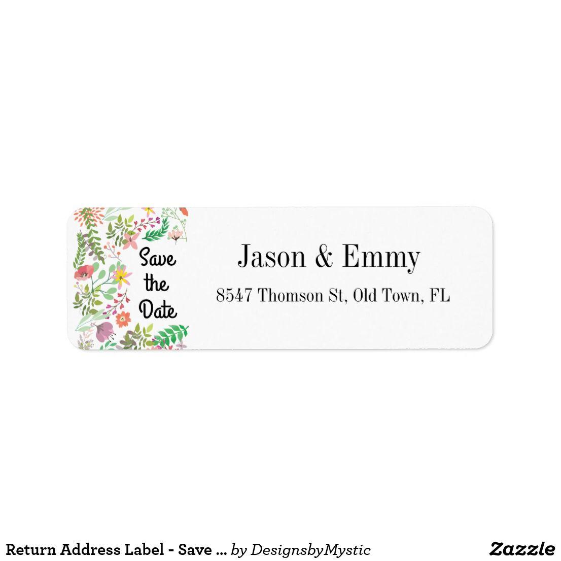 return address label save the date floral theme wedding labels
