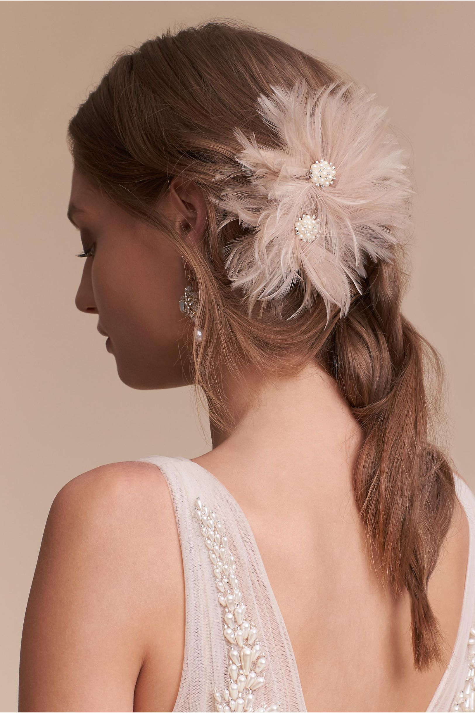 BHLDN Blushing Plumes Clip in  Veils & Accessories View All | BHLDN