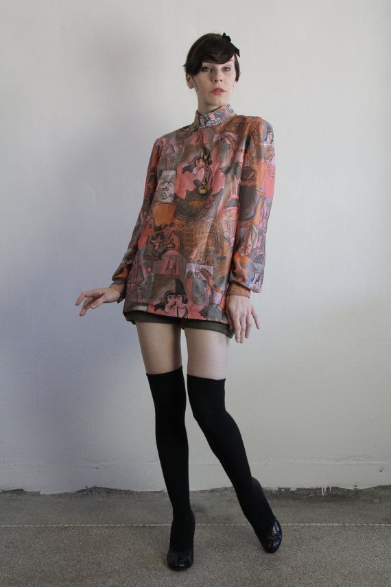 Vintage 60s Blouse  Iranian Art .  Turtleneck at VeraVague.etsy.com