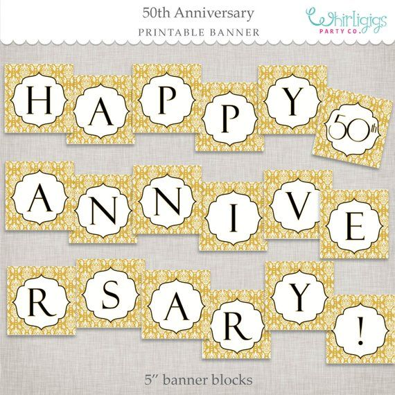 graphic about Happy Anniversary Banner Free Printable named Immediate Down load 50th Anniversary Banner - Golden
