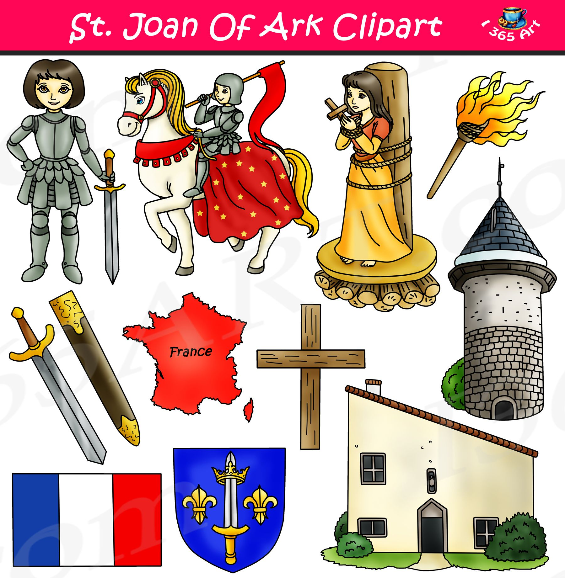 Joan Of Arc Clipart Set