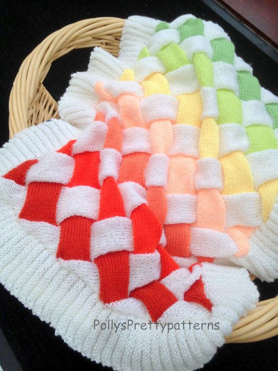 Pdf Knitting Pattern For Baby Entrelac Knit Pramcot Blanket