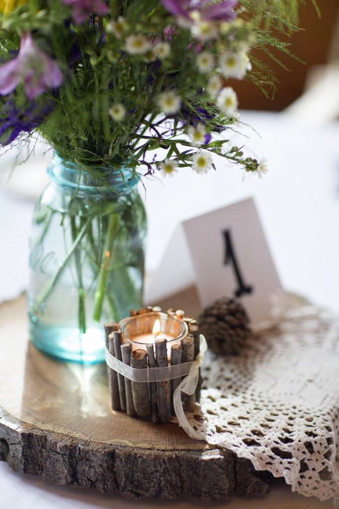 Woodsy table centerpiece - Laura Schmitt Photography » Central Wisconsin Wedding Photography