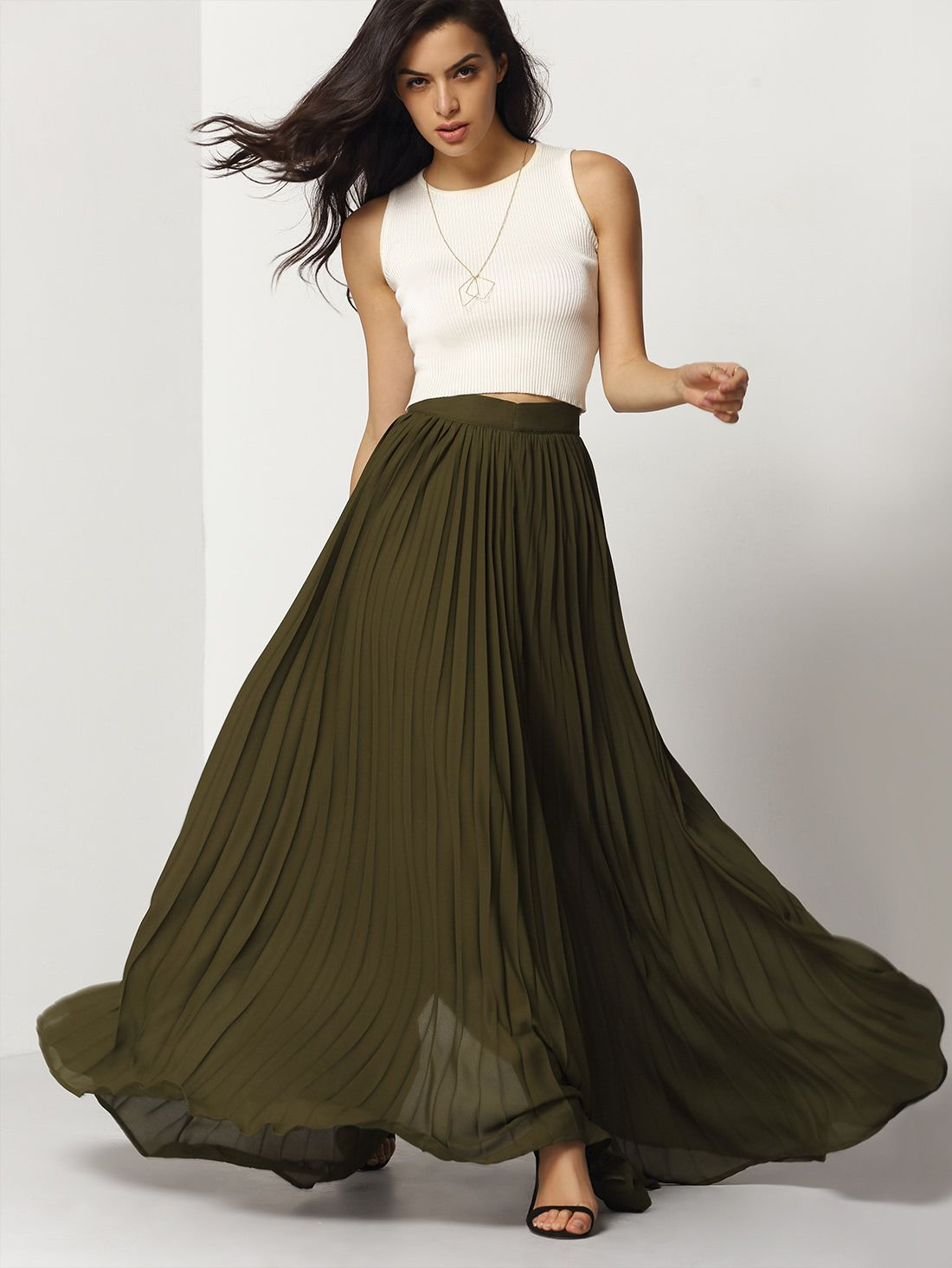 Olive flowy pleated maxi skirt makemechiccom in skirts and