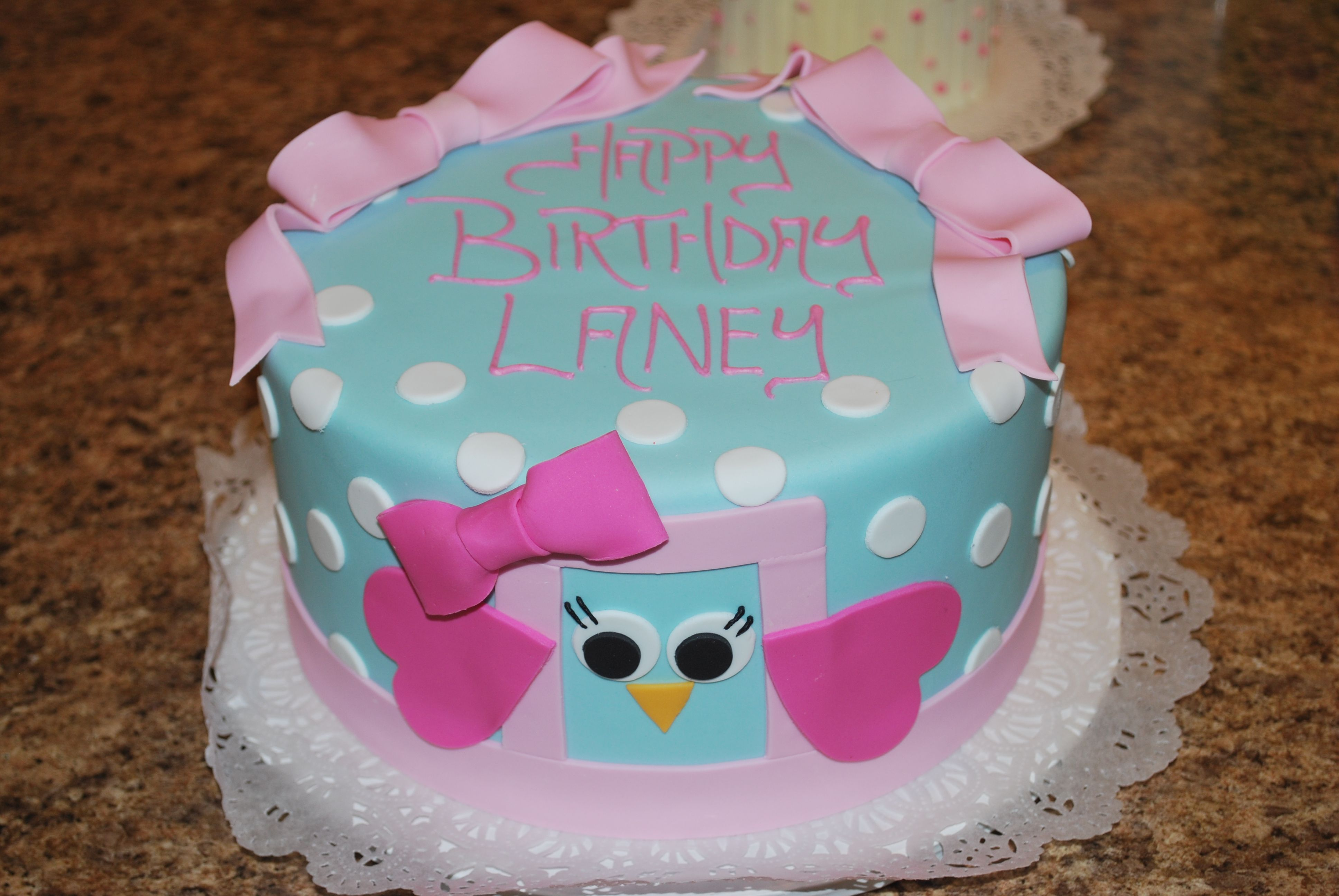 Laney's owl birthday cake- Premier Pastry, Rochester, NY | Cakes ...