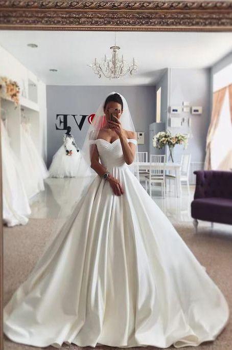 Einfache Satin Ballkleid Brautkleid Flügelärmeln 2020 Braut Brautkleid Mode