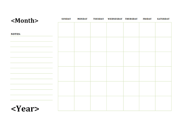 Monthly Blank Calendar With Day Notes Landscape Calendars