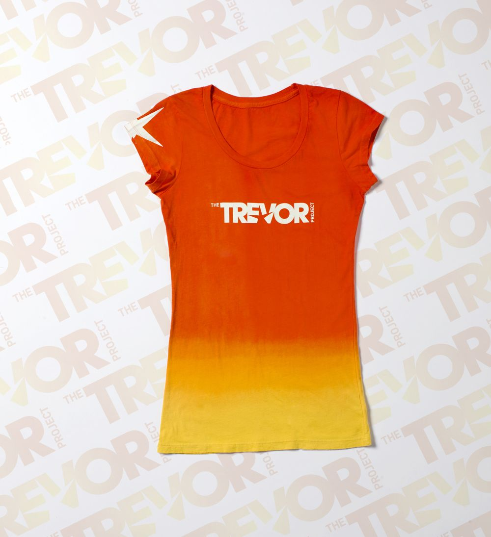 Trevor Project ombre fitted scoop neck t-shirt.