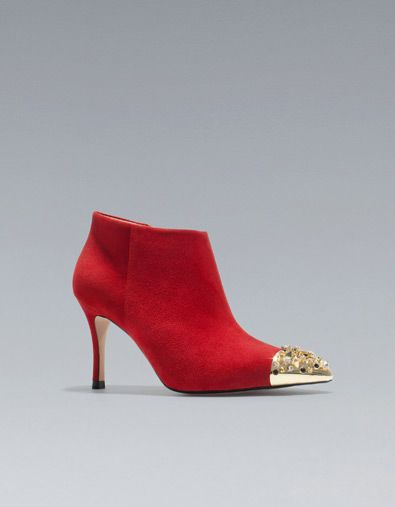 19e9d70948a Red high heel ankle boot with studded cap toe. Cap Toe Shoes