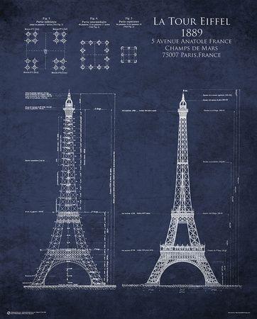 Eiffel tower blueprint paris poster world history pinterest eiffel tower blueprint paris poster malvernweather Choice Image