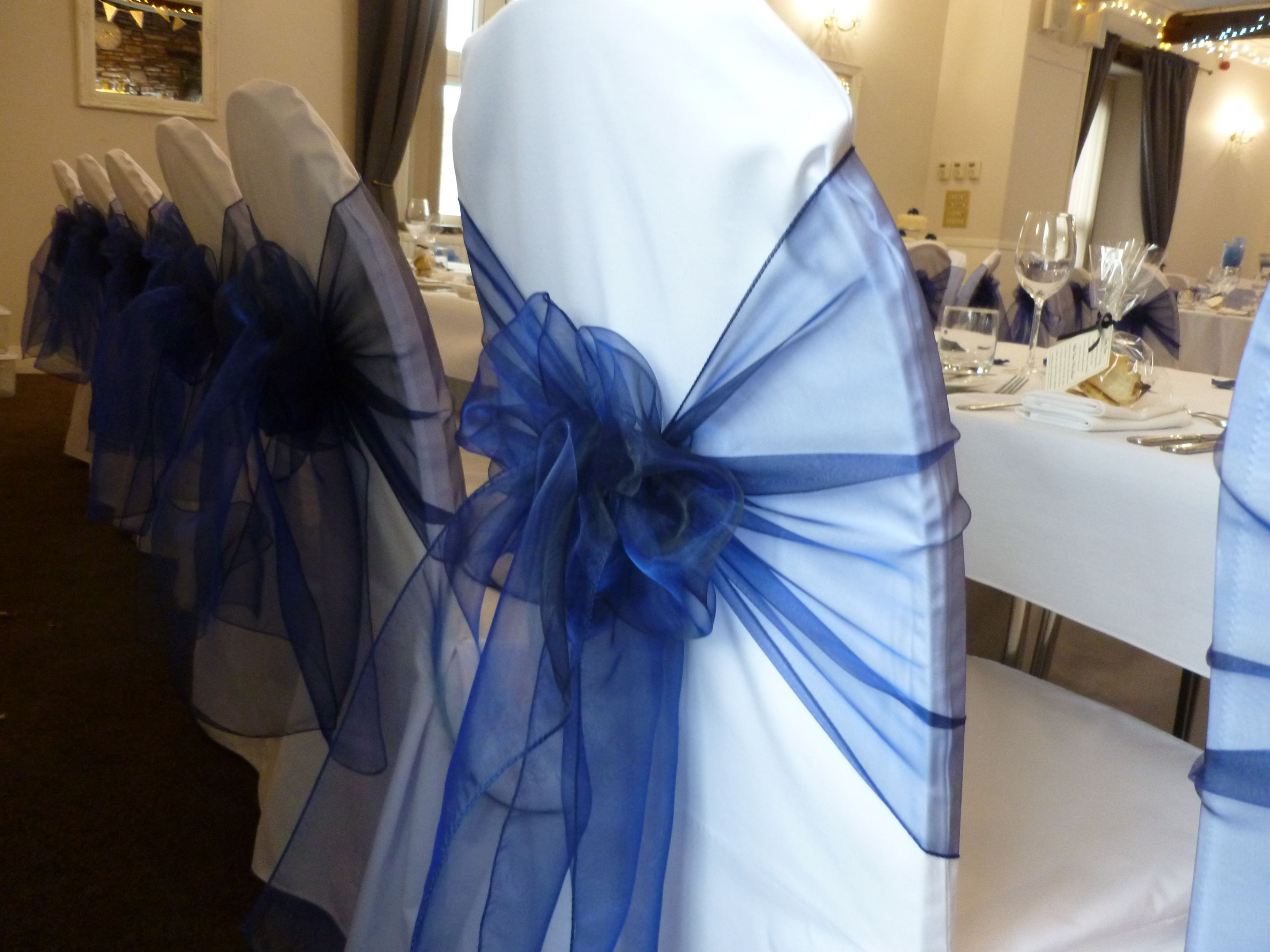 Chair Cover Hire South Wales Office Gaming Chairs Navy Organza Sash Dressed By Simply Bows And Covers