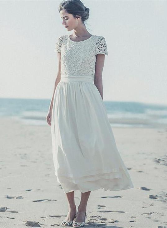 Newest White Lace A-line 2018 Wedding Dress Cap Sleeve Tea Length ...