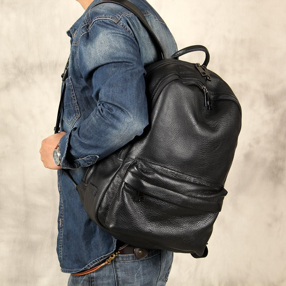 4a2b71859f1a9 Handmade Black Leather Backpack for School or College Unisex Laptop Backpack  YS07