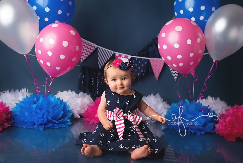 Nautical Hot Pink Navy Smash Cake First Birthday Photography Session