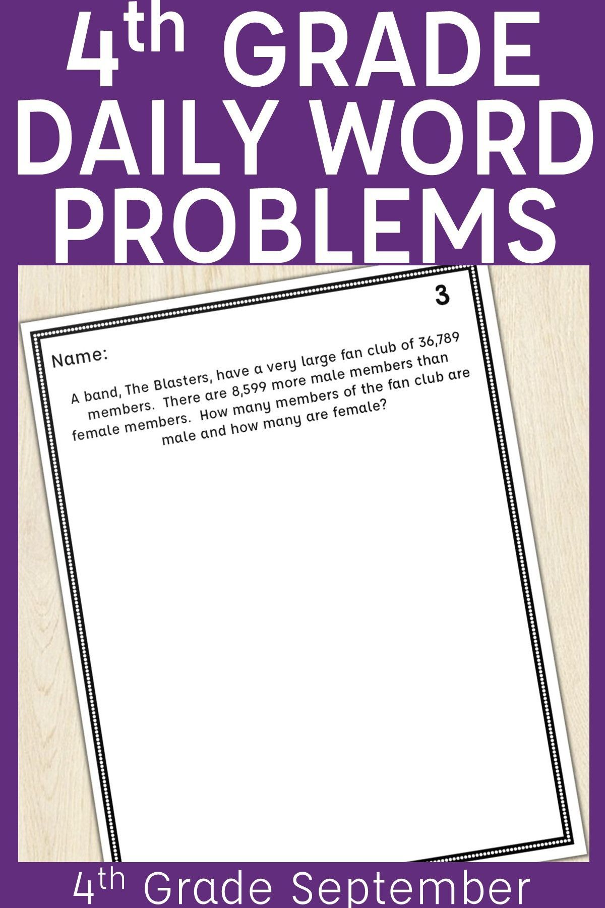 4th Grade Multi Step Word Problem Of The Day Story Problems September Word Problems Multi Step Word Problems Story Problems