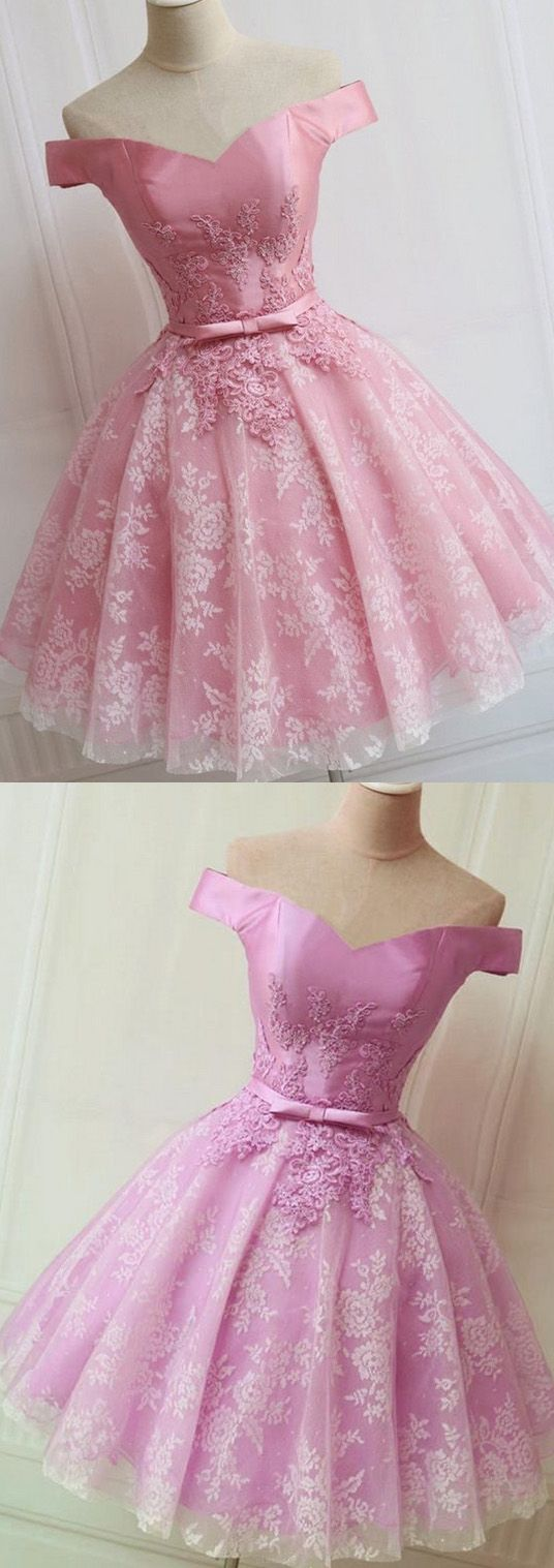 Pink alineprincess prom party dresses light short offtheshoulder