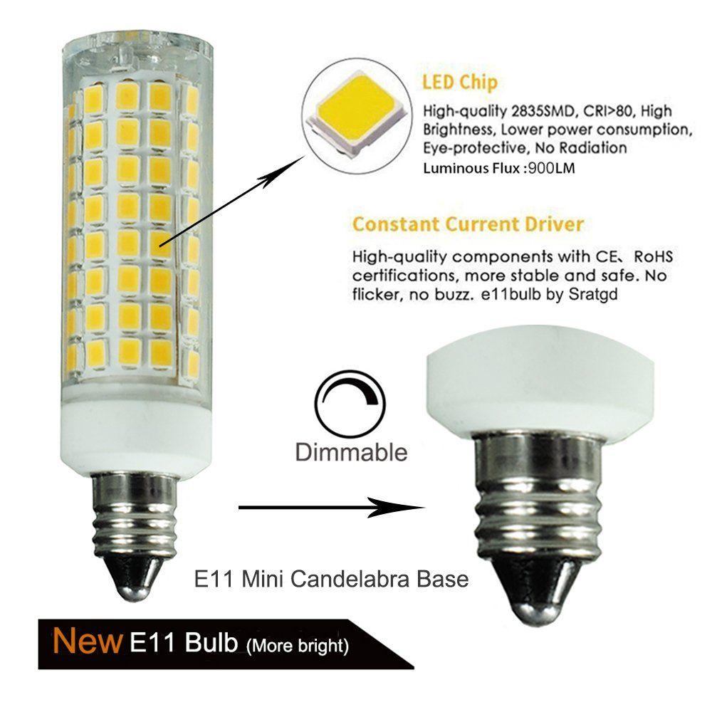 E11 Led Bulb 80w Or 110w Equivalent Halogen Replacement Lights Dimmable Mini Candelabra Base 1000 Lumens Daylight 6000k Ac110v 120v Bulb Led Bulb Candelabra