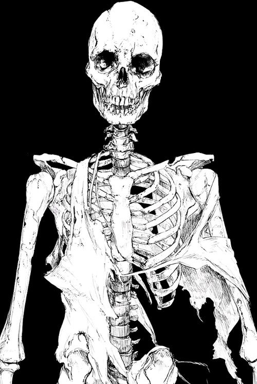 Image via We Heart It #anime #art #blackandwhite #monochrome #skeleton