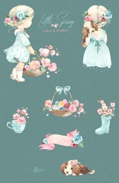 Little Spring. Lola & Puppy. Watercolor clipart, g