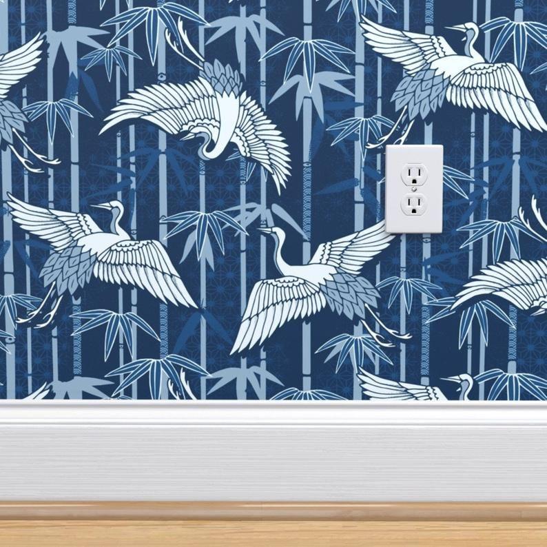 Elegant Classic Blue Wallpaper Cranes And Bamboo By Adenaj Etsy Blue Wallpapers Wallpaper Classic Blue