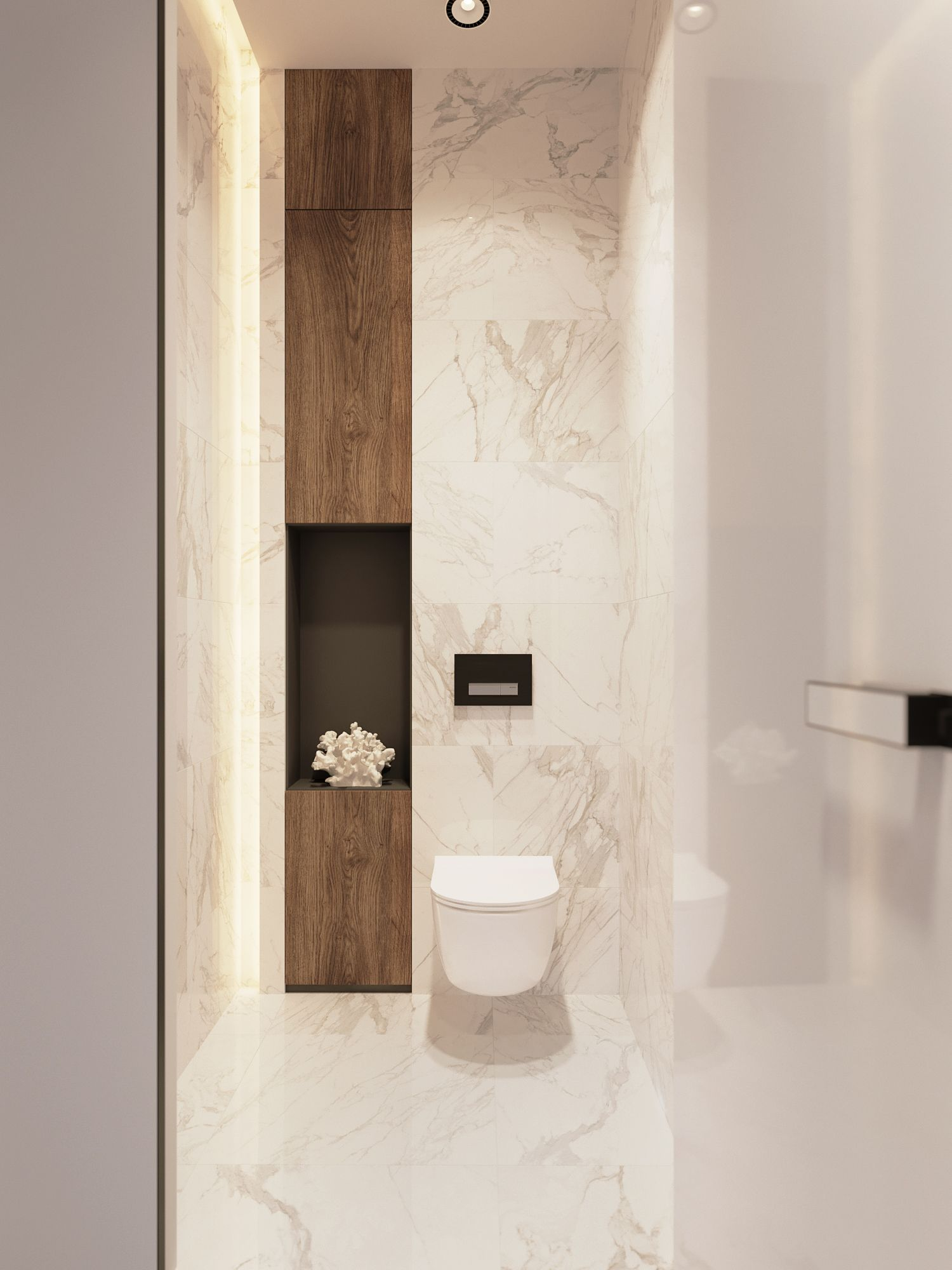New project by Z E T W I X. All marble bathroom. Medium dark wood ...