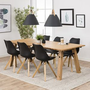 Design Tafel Met 6 Stoelen.Eethoek Wood Eettafel 210cm Met 6 Stoelen In 2020 Eethoek Tafel