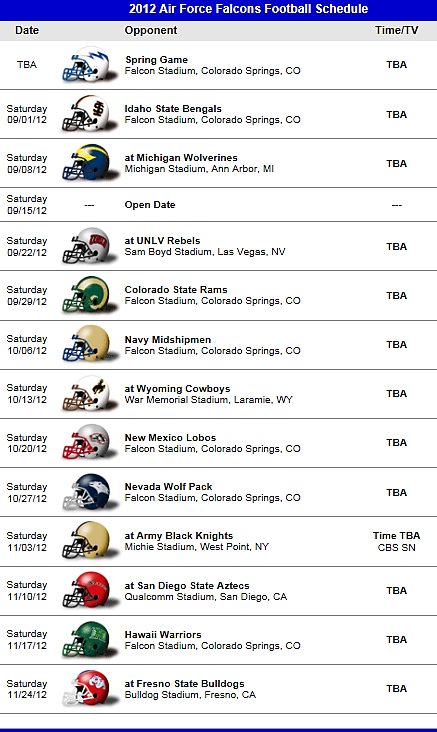 Air Force Academy Falcons 2012 Football Team schedule