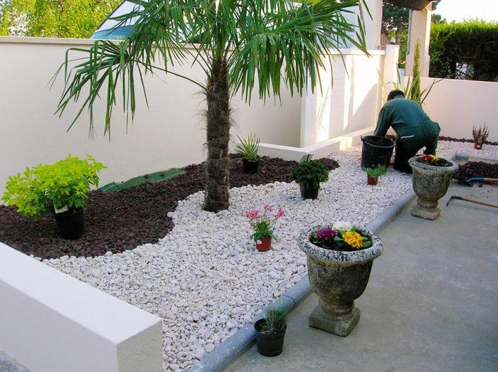Le jardin paysager tendance moderne de jardinage jardin paysager gravier et for Amenagement jardin avec gravier