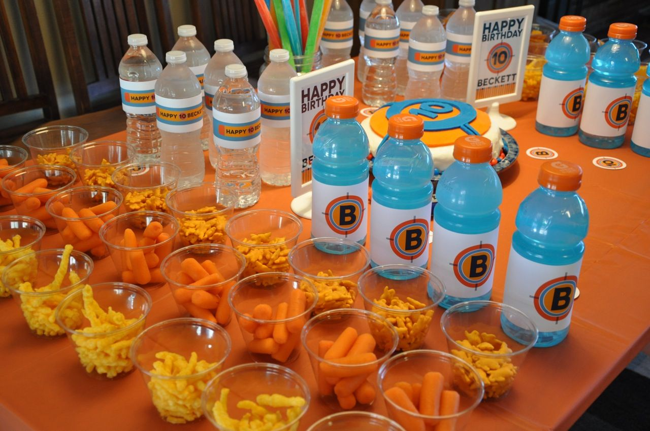 Nerf Themed Boys 10th Birthday Party Table Decor Snacks Custom Drink Bottles All Graphics By A Talented Friend