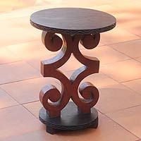 African Ram S Horn Wood Accent Table By George Obeng