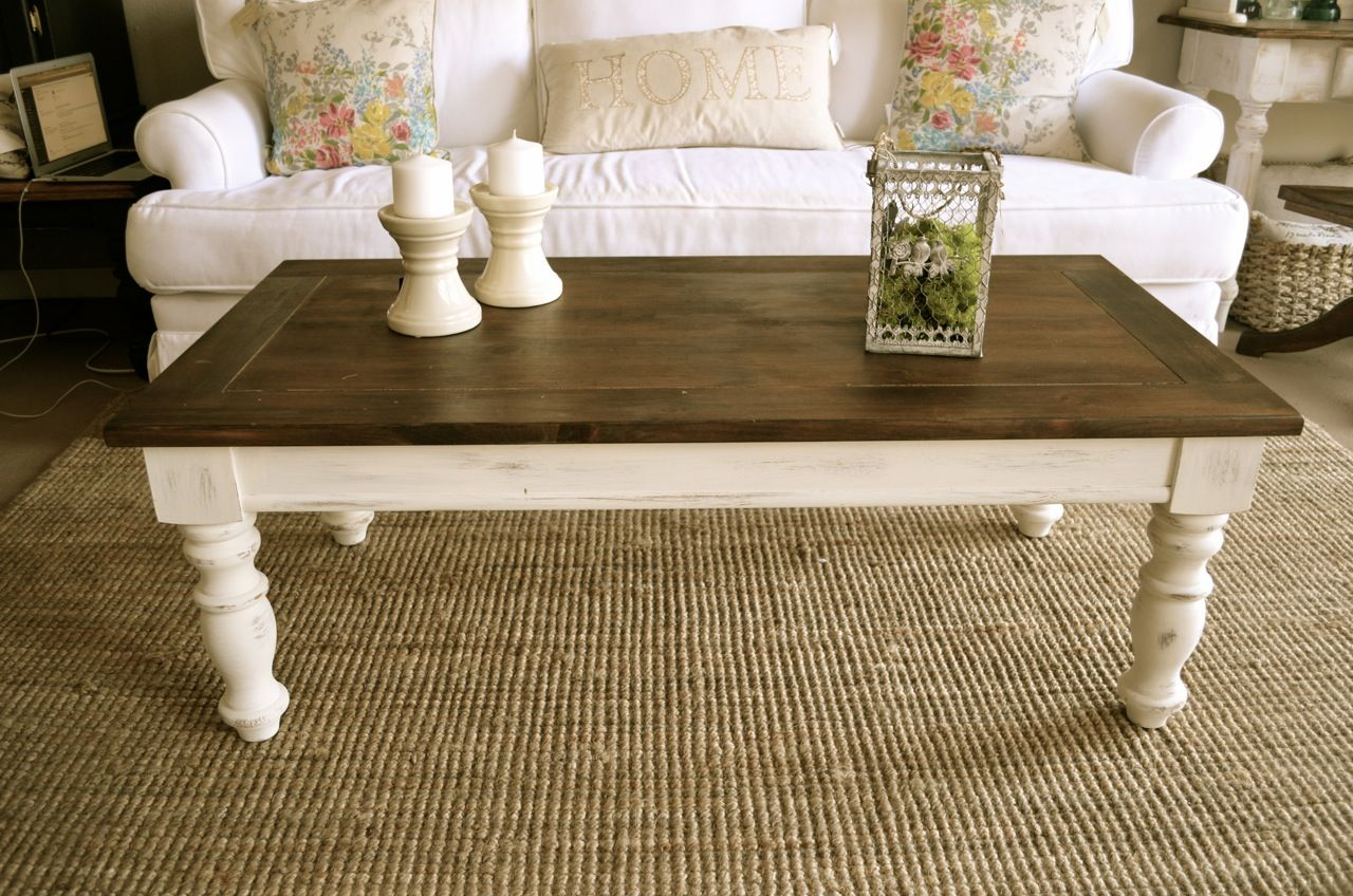 Distressed antique white coffee table by Analia Pastori Available at