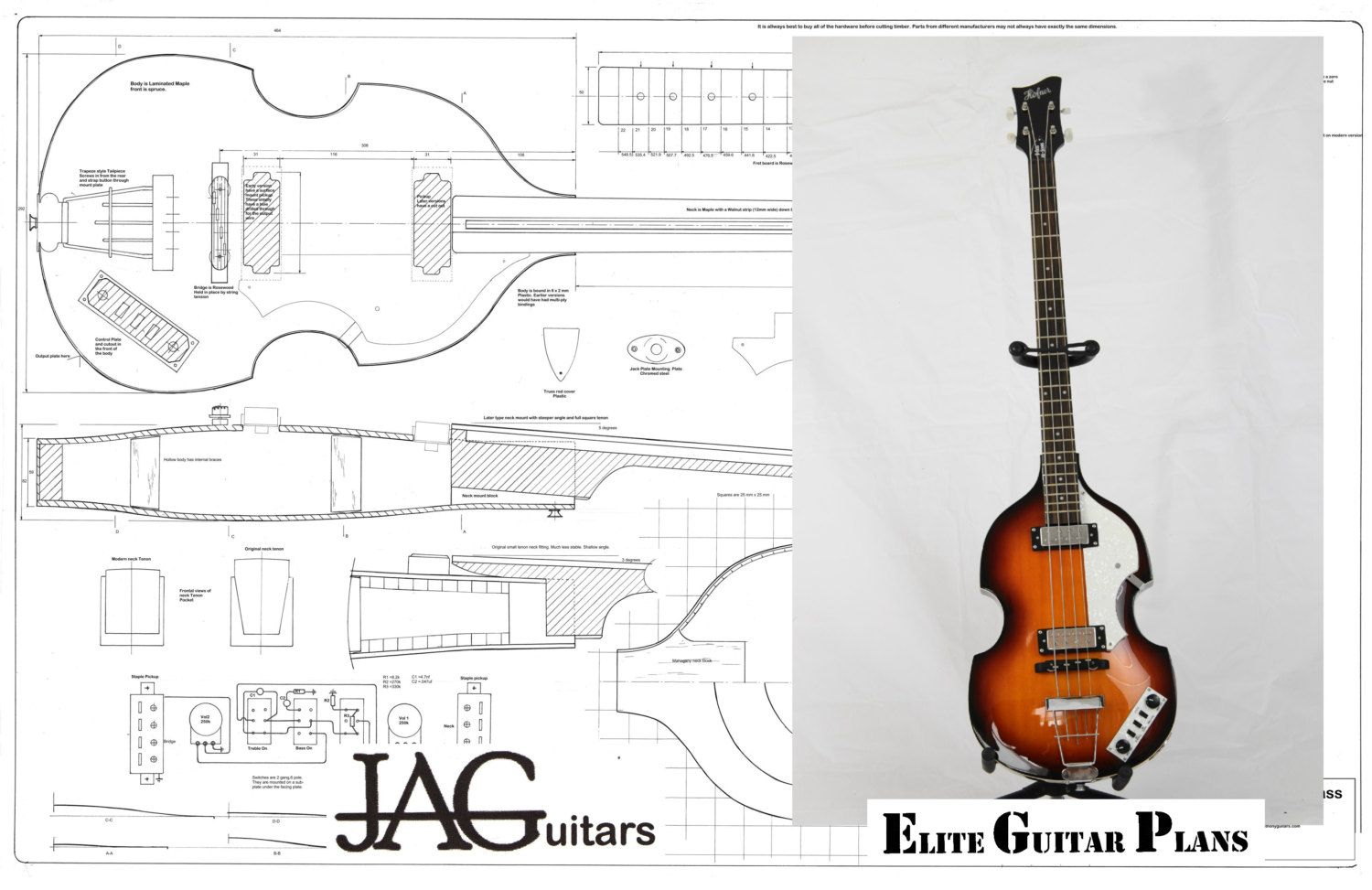 Rolled Plans To Build A Hofner Violin Bass For Framing Etsy Diy Les Paul Wiring Diagram