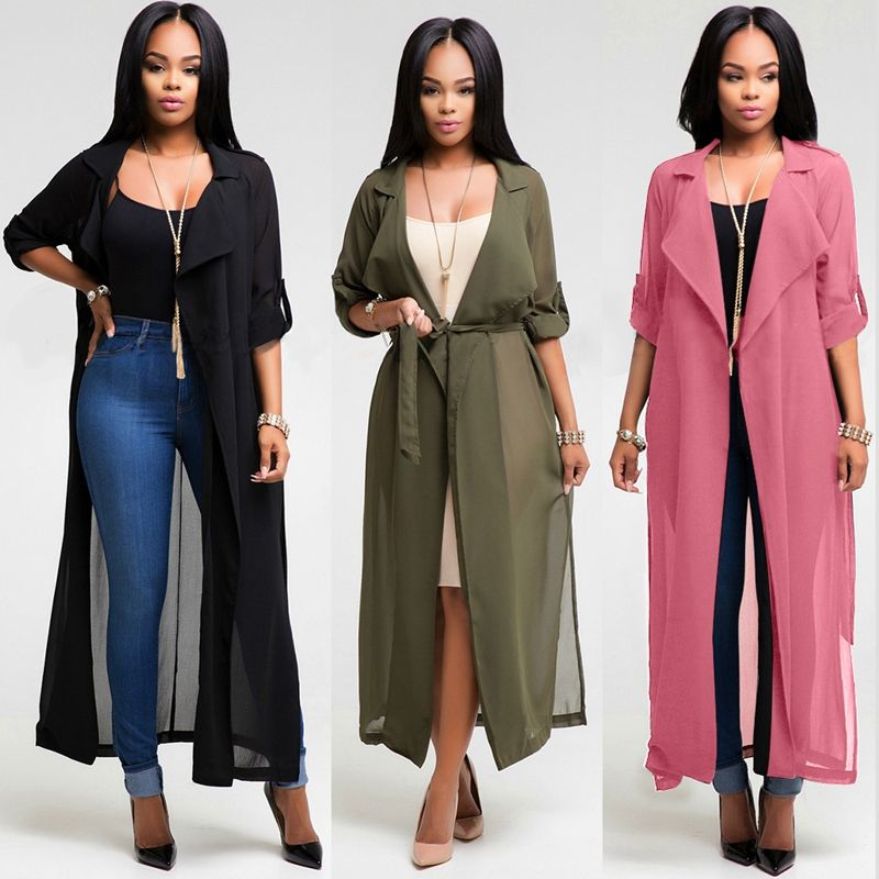 Elegant style 2016 sexy women long jackets 3 colors