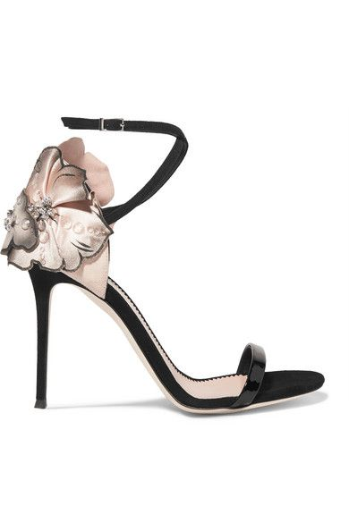 2b6019c8271ad Heel measures approximately 105mm/ 4 inches Black, ivory and blush suede  Buckle-fastening ankle strap Made in Italy