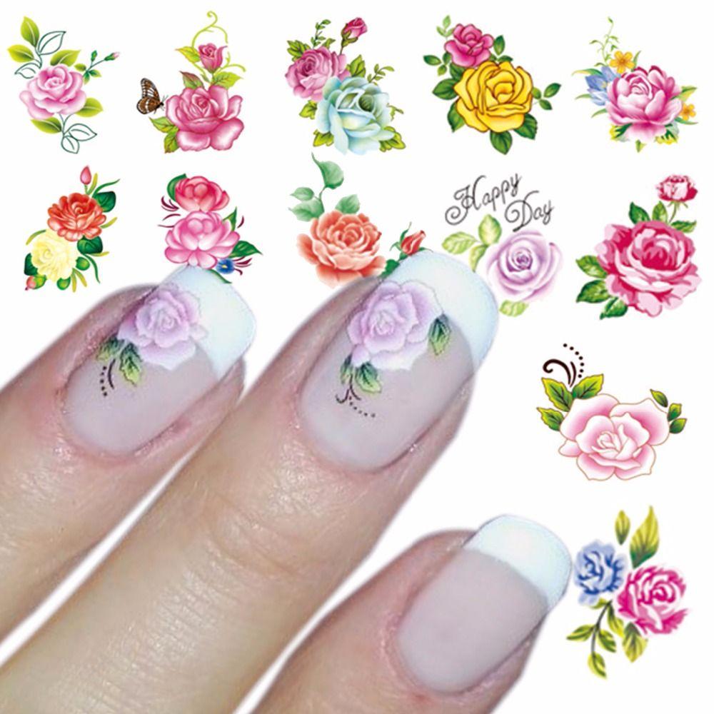 Wasser Aufkleber Nagel Wassertransfer Gothic Blühende Blume Nail ...